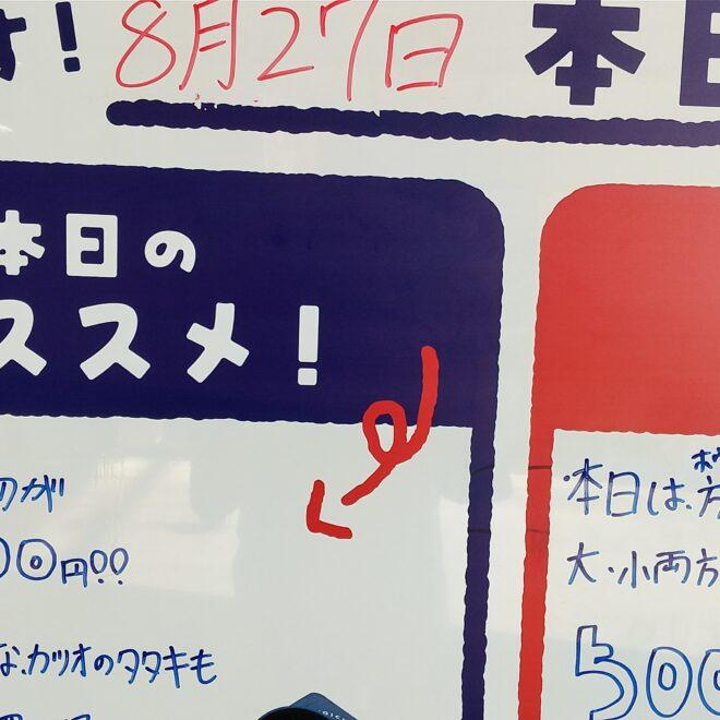 8月27日(金)鮮魚朝市開催中